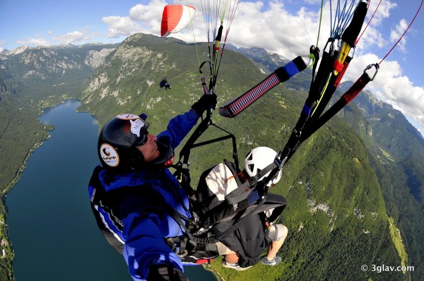 Tandem paragliding, Vogar, Bohinj, Slovenia
