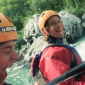 Happy rafters on Soca river Slovenia