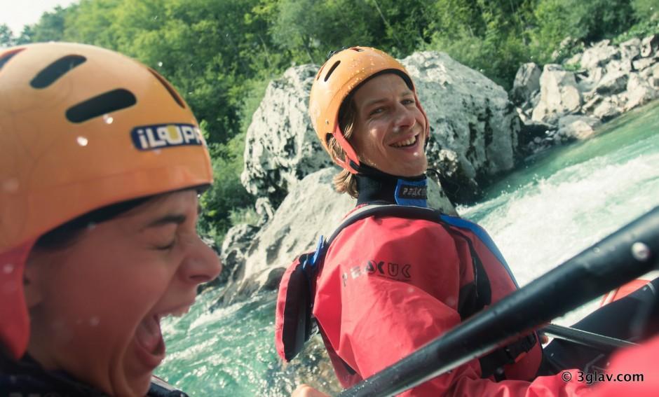 Happy rafters on Soca river Slovenia