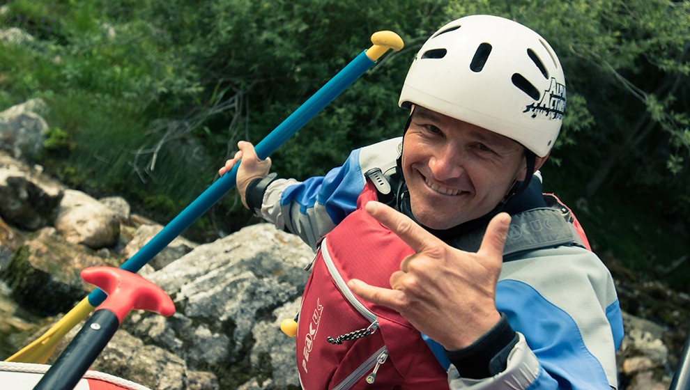 Rafting guide Tedy on Soca river in Slovenia