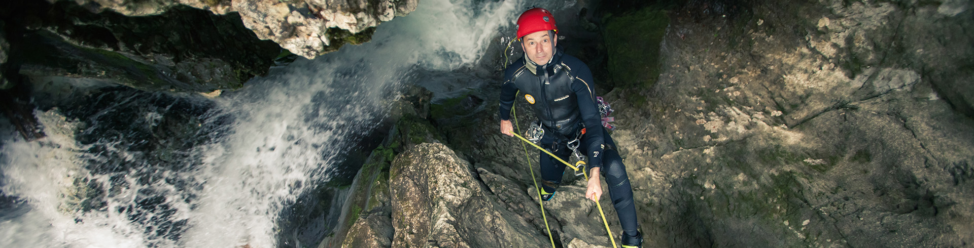 Canyoning Bob abseiling Grmecica Canyon, Bled, Slovenia