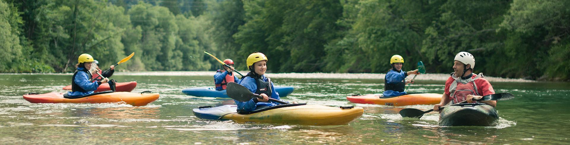 Kayaking trip, Sava Bohinjka river, Bled, Slovenia