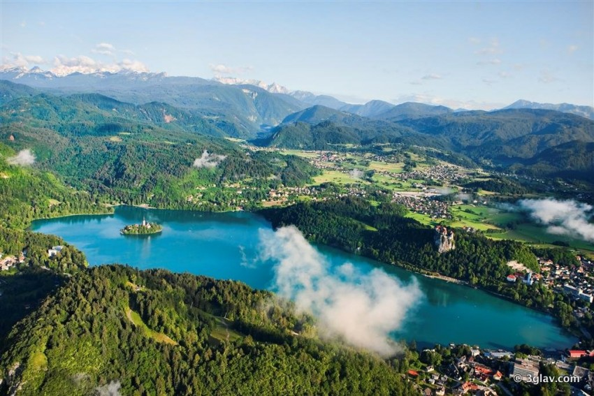 View of Bled lake from balloon